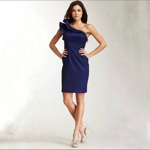 Eliza J Navy Blue one-shoulder cocktail dress